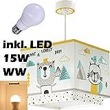 LED Lampe Kinderzimmer Decke Pendelleuchte Hase Bär Fuchs 73242 Warmweiß 1600lm Mädchen & Jungen