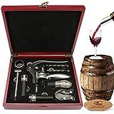 Yobansa food grade Wine Opener set Set cavatappi, tappo per bottiglia di vino, aeratore per vino bar,  pezzi, Deluxe 9Pieceswine accessori set regalo Reddish Box Vacum Stopper 9 pcs