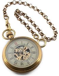 Steampunk Reloj Bolsillo Oro Esqueleto Mecánico La Cadena Movimiento Los Hombres Antiguos
