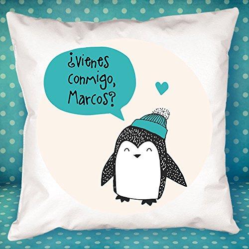 Cojín personalizado pingüino azul - Regalo original y divertido para el cumpleaños de un amigo, tu pareja en vuestro aniversario, Navidad, Día de la Madre, Día del Padre...