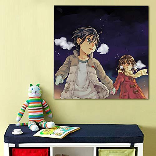 Yangll Digitale Farbe Durch Zahlen Boku Dake Ga Inai Machi DIY Digitale Malerei Japan Stil Cartoon DIY Ölgemälde Geschenk Für Liebhaber, Haben Rahmen 40X40 cm