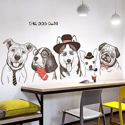 Divertido lindo pintado a mano de perro Tatuajes de pared Decoración Art...