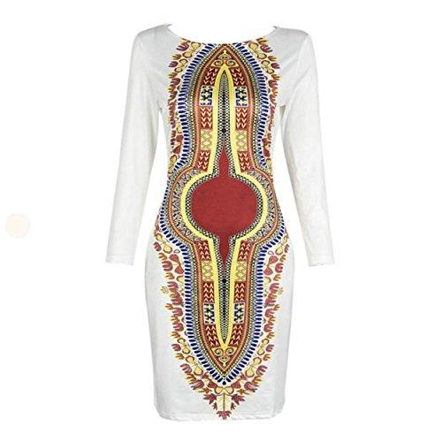 Yogogo Frauen-Sommer-beiläufige Tief O-Ansatz Traditionelle afrikanische Druck-Partei-Kleider (M)