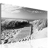 decomonkey | Bilder Strand Meer 120x40 cm 1 Teilig | Leinwandbilder | Bilder | Vlies Leinwand | Bilder | Wand | Bild | Wandbild | Kunstdruck | Wanddeko | Sepia Grau Natur Landschaft