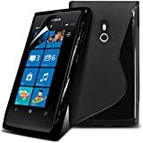Nokia Lumia 800 Black S Line Wave Gel Case Skin Cover With LCD Screen Protector Guard, Polishing Cloth by Fone-Case