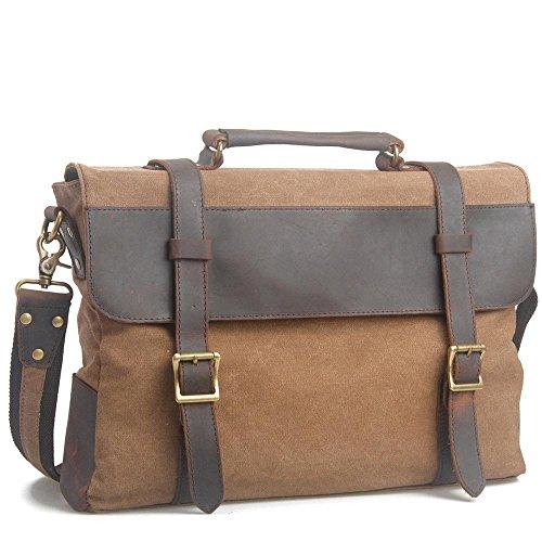 spalla multifunzionale uomo Messenger bag Europa e negli Stati Uniti retro borsa di tela valigetta portatile , coffee coffee