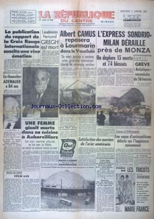 REPUBLIQUE DU CENTRE (LA) [No 4345] du 06/01/1960