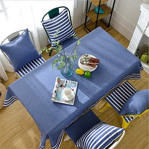 Kreative Mode (QWEASDZX Tischdecke Kreative Mode Mediterrane Strip Anti-Verbrühung Familie Tischdecke Rechteckige Tischdecke Geeignet für den Innen- und Außenbereich 120x120 cm)