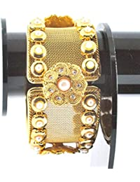 S&S Fashion Jewellery Graceful Gold Plated Bracelet Polki Bangle For Women And Girls