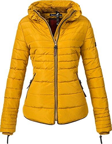 Marikoo Damen Winterjacke Steppjacke Amber (vegan hergestellt) Gelb Gr. XS
