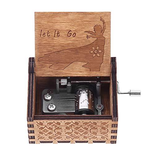 InnerSetting Caja de música de Madera con diseño de manivela en el Interior, Regalo Musical para niños, Cajas de Madera Tallada Envejecida para decoración del hogar