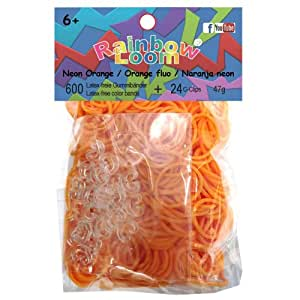 Official Rainbow Loom 600 Neon Orange Refill Bands w/ C Clips
