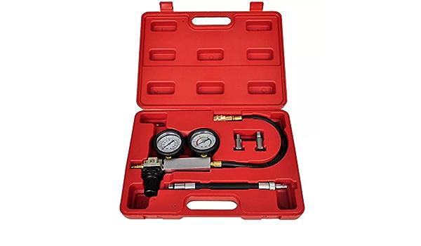 Lecksuchmelder Set Für Doppeldruckzylinder Zylinder Tester Set Kompressionsverlust Detektor Für Benzinmotoren Mit Rotem Gehäuse Auto