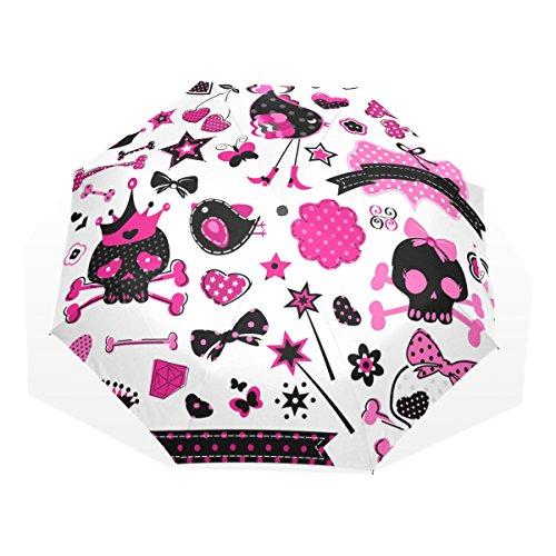 GUKENQ - Paraguas de Viaje con diseño de Calaveras para niña, Ligero, Anti Rayos UV, Paraguas de Lluvia para Hombres, Mujeres, niños, Resistente al Viento, Plegable, Paraguas Compacto
