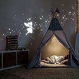 Leuchtsticker Sternenhimmel Leuchtaufkleber Wandtattoo mit Elfe