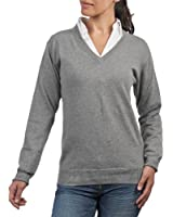 Wool Overs Women's Cashmere & Cotton V Neck Golf Jumper