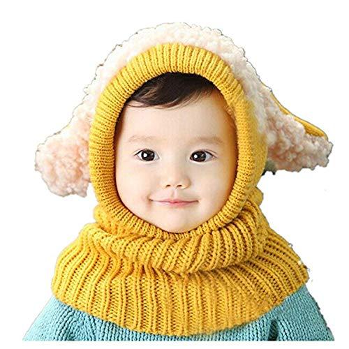 Knit Winter-schal (Formesy Baby Mädchen Jungen Kleinkind Winter Hut Schal Set Cutest Earflap Kapuze Warm Knit Hut Schals mit Ohren Schnee Halswärmer Kappe Kinder 6-36 Monate (Gelb))