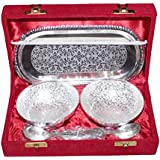Crafticia Silver Plated Brass Bowl 4 Inch, Spoon & Tray Set Of 5 Piece Decorative Handicraft Gift Item Home Decor Showpiece