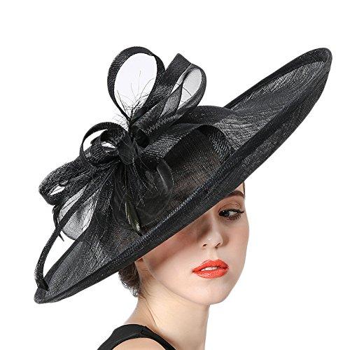 Koola's hats Damen Wide Brim Sinamay Hatinator Party Wear Hochzeit Hüte (Schwarz)
