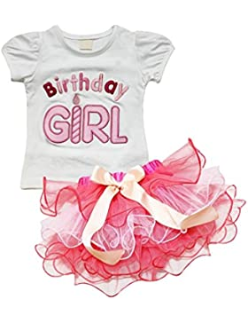 PJPYIF Niñas de Manga corta Camiseta + tutú Cumpleaños Cupcake Conjunto