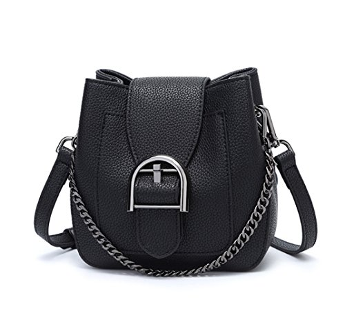 Mini Kleine Crossbody Party Abendtasche Metallkette Gurt Beuteltasche,Black-Mid ()