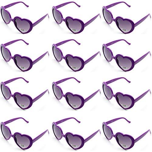 on Farben Party Sonnenbrillen Set für Kinder Erwachsene Partybrille Herzform Party Favors und Festival (12lila) ()