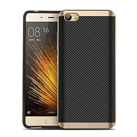 Xiaomi Mi5, cornmi Design Coque hybride en TPU + PC Coque arrière de protection avec cadre pour Xiaomi Mi M55téléphone portable, plastique, doré, Xiaomi M5 Mi 5