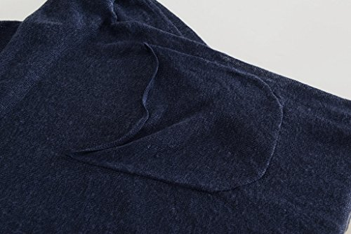 Bigood Sarrau T-shirt Lin Femme Overall Grande Taille Tops à Manches Longues Col V Pochette Bleu Foncé
