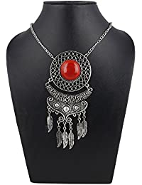 Aradhya Silver And Red Stone Beads Afgani Necklace For Women And Girls