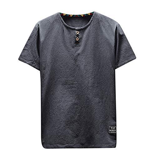 UFACE Herren Plus Größe Hemd, Sommer Casual Leinen Und Baumwolle Lose Kurzarm Einfarbig V-Ausschnitt T-Shirt Mode Top Bluse Tees