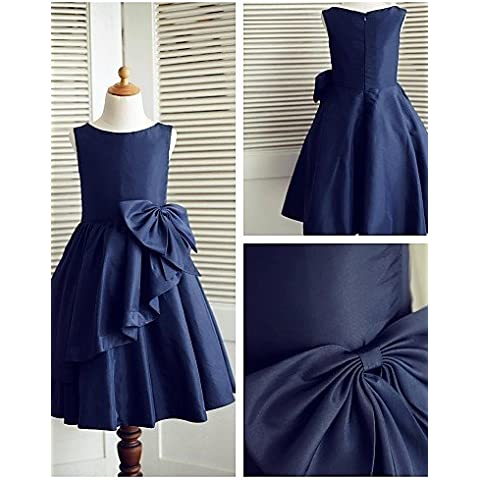 ZY/al ginocchio a-line Flower Girl Dress–Taffetà senza maniche, Ivory, child-14