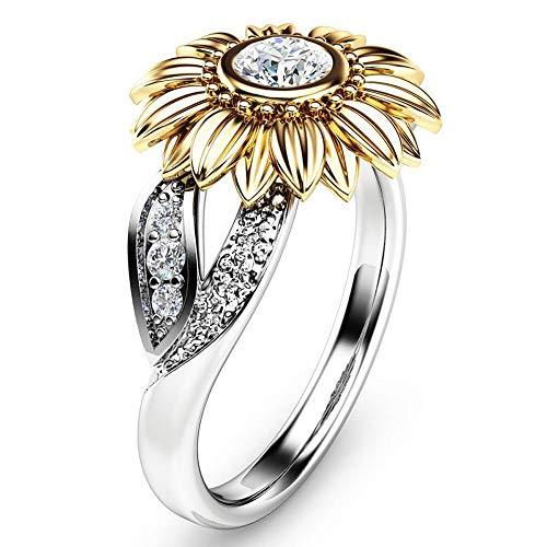 Im Alter Von Antiken Gold-finish (Cwemimifa Ring Damen aus Edelstahl Silber farbend matt Damenring für Frauen, Exquisite Damen Two Tone Silber Floral Ring runden Diamanten Gold Sunflower Jewel, Sliver, 9#)
