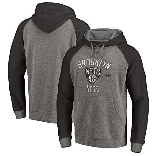 LSJ-ZZ Männer Kapuzenpullover, NBA Brooklyn Nets Basketball Sweatshirt Langarm-Pullover-lose Trainingsanzug Jacke,C,L(170~175CM)