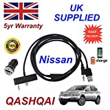 Nissan Qashqai Cable de audio para iPhone 5 5 C 5S Cable Digital Con 1.0 A USB adaptador de alimentación Negro
