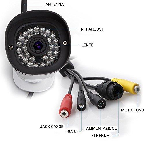 Foscam FI9800P Telecamera, HD 1.0 MP, H.264, 720p, Esterno, Visore Notturna, Rilevatore Movimenti, Alerte Mail/FTP, Compatibile iPhone e Android