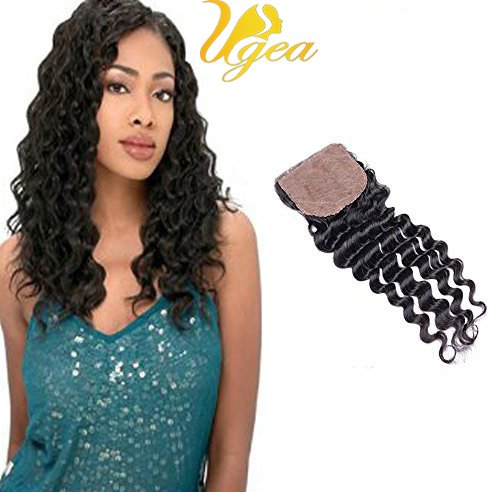 Ugeat Deep Wave/Frise Top Lace Closure Silk Base 4 * 4\