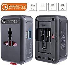 QC3.0 Adaptador de viaje universal con 2 Puerto USB Cargador, EKOOS Adaptador de