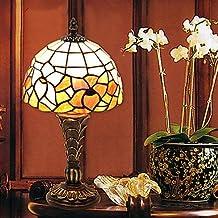 bobo Tradicional Resina Pequeña lámpara de mesa de cristal del patrón de flor Shade Tiffany