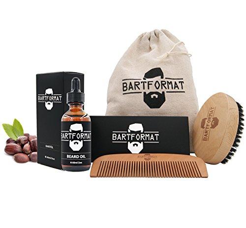 """Bartpflege-Set """"WEICHMACHER"""" von BARTFORMAT - Bartöl (60 ml) + Bartkamm (Birnbaumholz) + Bartbürste (Wildschweinborsten) inkl. Baumwollbeutel - Macht das Barthaar weich und geschmeidig"""