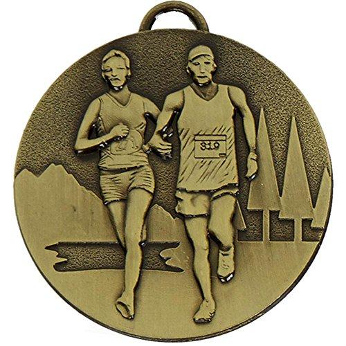50mm Cross Country Medaille Bronze mit gratis Gravur bis zu 30Buchstaben + Band