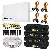 SAT SET von HB-DIGITAL: Megasat Sat-Flachantenne H30D4-QUAD 4 Teilnehmer + 4x Recever + Fensterhalterung + 50m Kabel + 4x Fensterdurchführung + 16x F-Stecker vergoldet + 8x Gummitüllen + 4x HDMI Kabel