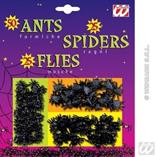 HAAC 100teiliges Set von künstliche 50 Ameisen, 25 Spinnen und 25 Fliegen für Feste, Fasching, Karneval, Halloween Farbe schwarz