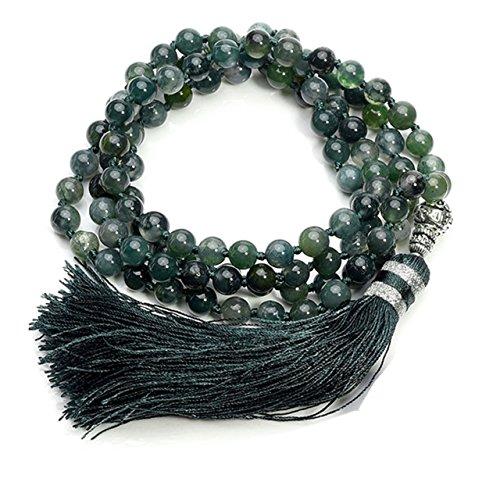 QGEM 108 Perlen Edelstein Yoga Armband Wickelarmabnd Chakra Buddha Buddhistische Tibetische Gebetskette Healing Reiki Mala Kette Halskette (Eine Farbe-Moos Acgat)