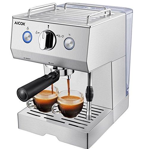 Aicok Kaffeemaschine, Espressomaschine, Kaffeevollautomat, 15bar Cappuccino Maschine, Professionelle Milchschaum Düse, Edelstahlkörper, Silber