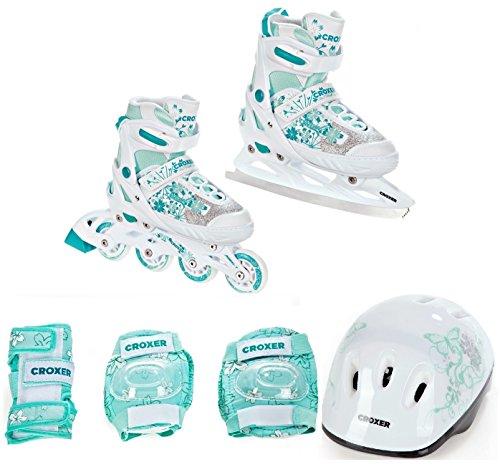 2in1 Schlittschuhe Inline Skates Inliner Croxer Aviana White/Mint 33-36(20,5cm-22,5cm) verstellbar + Schützer S + Helm Silky S