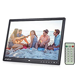 Andoer 15 inch TFT LED Digital Bilderrahmen mit MP4/MP3/e-book/Uhr/Kalender/High-Definition 1280x800 Pixel-Display mit Touch-Taste/Infrarot-Fernbedienung/Unterst¨¹zt 14 Sprachen mit Halter 100V-240V
