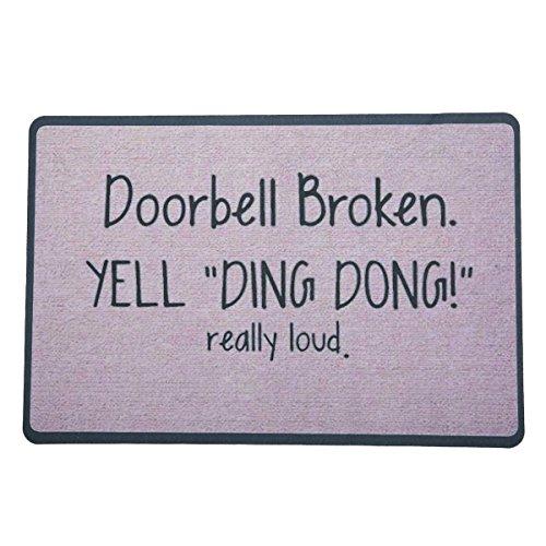 Jeteven Fußmatte Türmatte Gummi-Teppich Innen- und Außenbereich Fußabtreter Schmutzmatte ca.60X40cm Doorbell Broken
