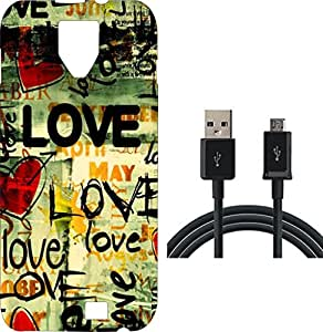 BKDT Marketing Printed Back Cover for Karbonn Titanium moghul with Charging Cable