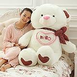VerCart Grand Nounours Ours en Peluche XXL Teddy Bear Jouet Oursons Douce Cadeaux pour Bébé Enfant Ado Fille Garçon Blanc 150CM