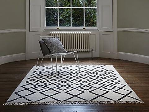 Moderne Designer Tapis kilim 160 x 230 cm HAVRE diamant Mono noir et blanc 80% laine 20% JUTE